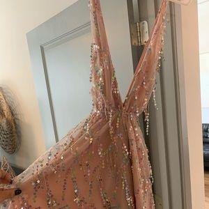 NWT Lulu's Pink sequin plunge mini dress!